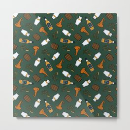 Whisky Pattern in Dark Green Metal Print