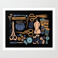Sewing Notions Block Print Art Print