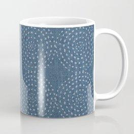 African, Spotted, Mudcloth, Blue, Wall Art Boho Coffee Mug