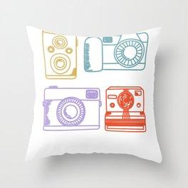 Vintage Camera Retro Color Pastel Hand Drawn Throw Pillow