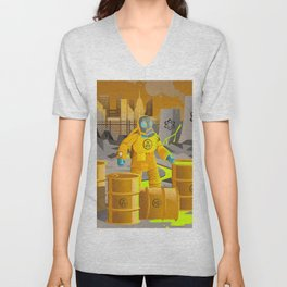biohazard suit man with barrels near nuclear meltdown in powerplant Unisex V-Neck