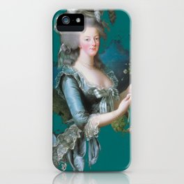 marie Antoinette teal iPhone Case