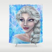 frozen elsa Shower Curtains featuring .:Elsa:. by Kimberly Castello