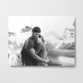 The Lovers | Timeless Night Scene Couple Embrace Romantic Hug Black and White Long Exposure Metal Print