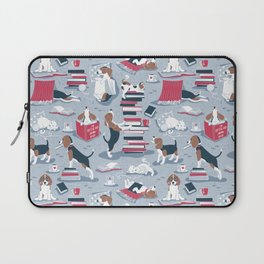 Life is better with books a hot drink and a friend // blue background brown white and blue beagles and cats and red cozy details Laptop Sleeve