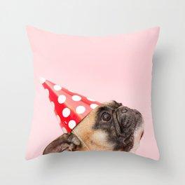 Pug Birthday Party! Throw Pillow