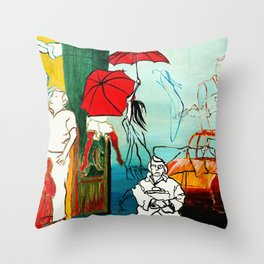 Composition Painting - Umbrella girl with woman Throw Pillow
