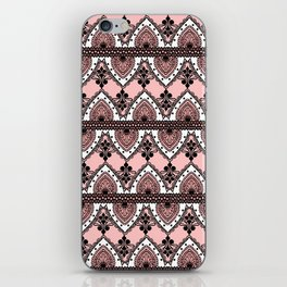 Blush Pink Black and White Ornate Lace Pattern iPhone Skin