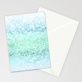 Aqua Seafoam Ocean Glitter #1 #shiny #pastel #decor #art #society6 Stationery Cards