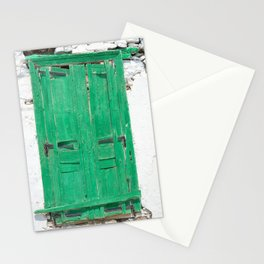 The Old Green Window on Milos Stationery Cards
