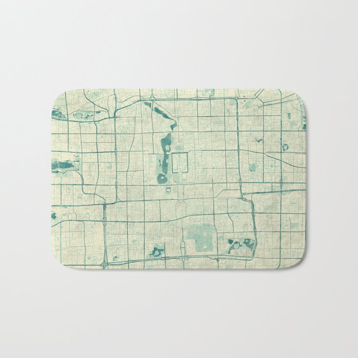 Beijing Map Blue Vintage Bath Mat