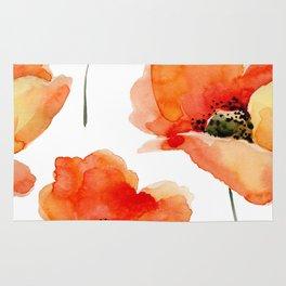 Modern hand painted orange watercolor poppies pattern Rug