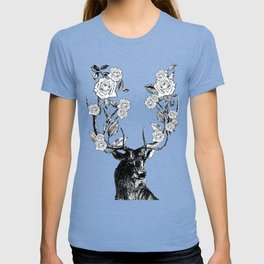 The Stag and Roses | Black and White T-shirt