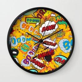 Comic Book Pop Art Shout Outs Modern Fun Wall Clock
