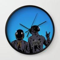 daft punk Wall Clocks featuring Daft Punk  by ochre7