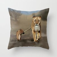 lions Throw Pillows featuring Lions by Elena Napoli