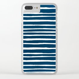 Geometrical navy blue white watercolor stripes Clear iPhone Case