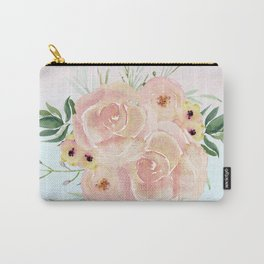Wild Roses on Pink and Blue Carry-All Pouch