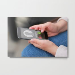 Close up of woman's hands with smartphone and unknown incoming phone call on it, fraud or scam schemes Metal Print
