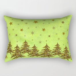 Sparkly Christmas tree, stars, moon on abstract green paper Rectangular Pillow