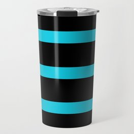 Hollywood Nights Black and Teal Stripes Travel Mug