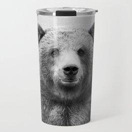 Grizzly Bear - Black & White Travel Mug