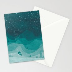 Stars factory, teal mountains house watercolor landscape Stationery Cards