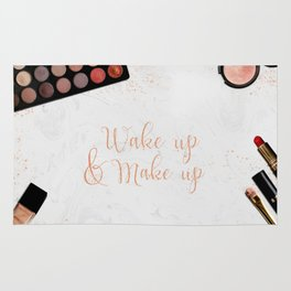 Wake up & Make up - Make-Up and Fashion Statement on beauty products flatlay Rug