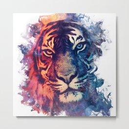 Tiger Portrait Smokey Watercolor Metal Print