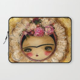 Frida In A Brown And Green Tehuana Mexican Traditional Dress Laptop Sleeve