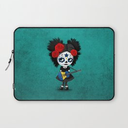 Day of the Dead Girl Playing Barbados Flag Guitar Laptop Sleeve