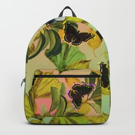 Vintage Ginkgo Leaves and Butterflies Backpack