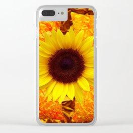 GOLDEN SUNFLOWER GOLD PATTERN ART Clear iPhone Case