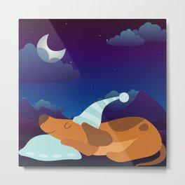 Adorable Sleeping Dog at Night  Metal Print