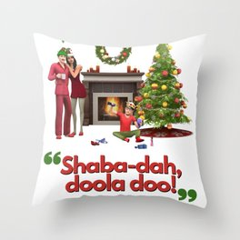 A Simlish Christmas - The Sims Xmas Jumper Throw Pillow