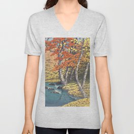 Japanese Woodblock -  Autumn in Oirase by Kawase Hasui, 1933 Unisex V-Neck