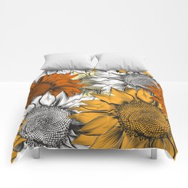 Beautiful pattern from hand drawn sunflowers Comforters