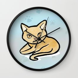 Kawaii Orange kitty with paw background Wall Clock
