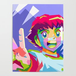 Captain Tsubasa in pop art wpap Poster