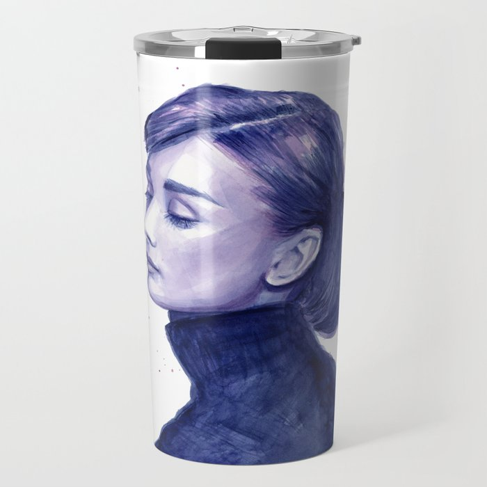 Audrey Hepburn Watercolor Portrait Travel Mug