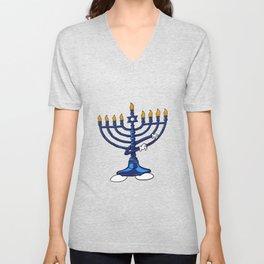 Dabbing Menorah Star Of David Hanukkah Dab Jewish Unisex V-Neck