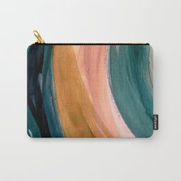 Breathe: a vibrant bold abstract piece in greens, ochre, and pink Carry-All Pouch