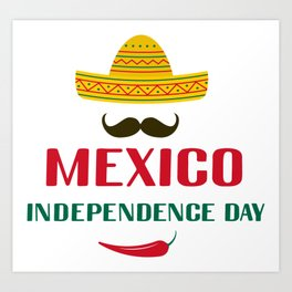 Mexico Independence Day lettering with sombrero and chili pepper Art Print