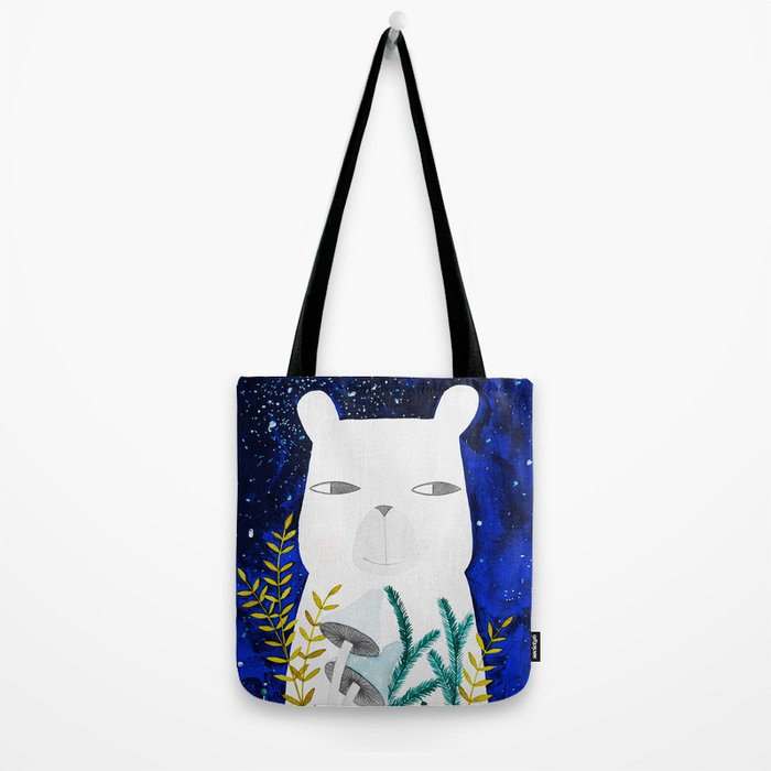 polar bear with botanical illustration in blue Tote Bag