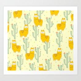 Alpaca summer pattern Art Print