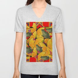 GOLDEN BUTTERFLIES & FROGS RED COLLAGE Unisex V-Neck