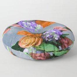 antique florals orange roses Floor Pillow