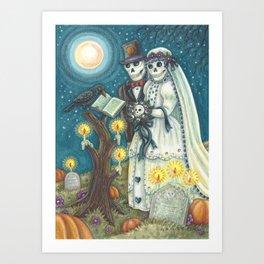 CEMETERY NUPTIALS - Susan Brack Skeleton Halloween Wedding Art Print
