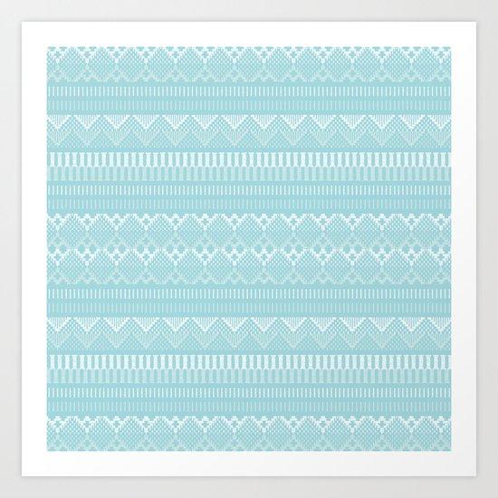 Weave (blue) Art Print