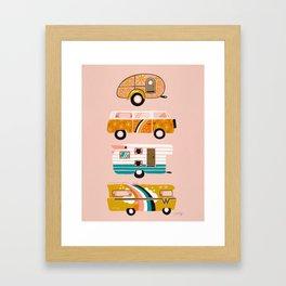 Retro Road Trip – Pink Palette Framed Art Print